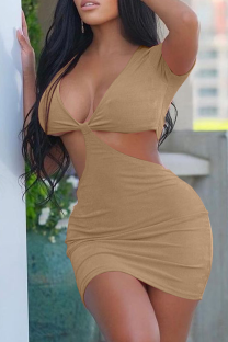 Khaki Sexy Solid Hollowed Out V Neck Pencil Skirt Dresses