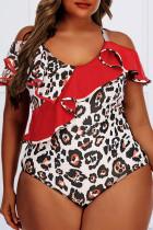Red Fashion Sexy Print Split Joint O Neck Plus Size Swimwear