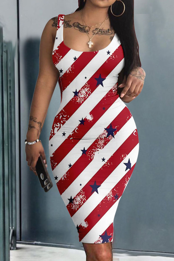 Red White Casual Print Split Joint U Neck A Line Dresses