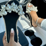 White Casual Street Split Joint Pearl Opend Out Door Shoes