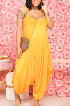 Yellow Casual Solid Split Joint U Neck Harlan Jumpsuits