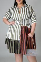 Brown Fashion Plus Size Striped Print Split Joint Turndown Collar Shirt Dress (Without Belt)