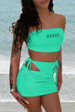 Green Sexy Print Hollowed Out Letter Strapless Sleeveless Two Pieces