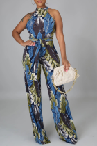 Turquoise Sexy Print Split Joint Halter Straight Jumpsuits