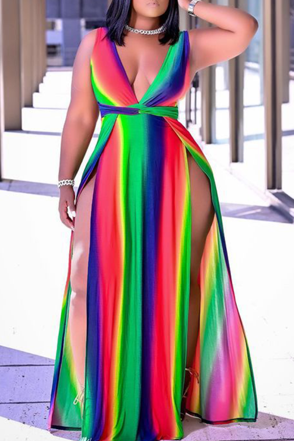 Rainbow Color Sexy Print High Opening V Neck Plus Size Dresses