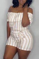 Khaki Fashion Casual Striped Print Backless Off the Shoulder Regular Romper