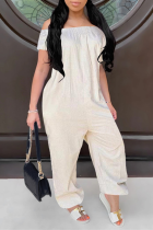White Casual Solid Split Joint Off the Shoulder Harlan Jumpsuits