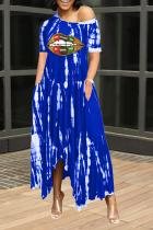 Blue Casual Print Split Joint One Shoulder Irregular Dress Dresses