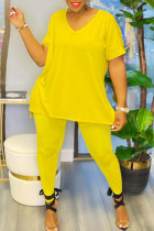 Yellow Casual Solid Split Joint V Neck Plus Size Two Pieces
