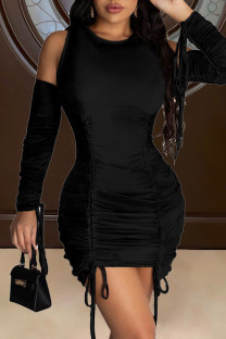Black Sexy Solid Split Joint Draw String Fold O Neck Pencil Skirt Dresses