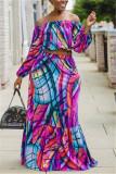 Purple Fashion Casual Long Sleeve Bateau Neck Off The Shoulder Short Print Two Pieces