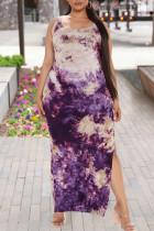 Purple Fashion Casual Plus Size Print Tie Dye Slit O Neck Vest Dress