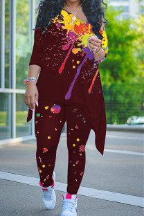 Burgundy Casual Print Split Joint Asymmetrical O Neck Nine Points Sleeve Two Pieces