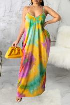 Multicolor Sexy Patchwork Tie-dye Spaghetti Strap Straight Dresses