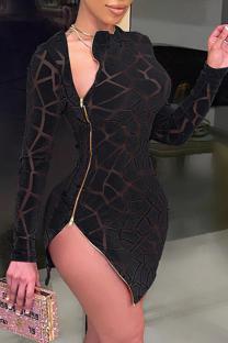 Black Sexy Patchwork Mesh O Neck Irregular Dress Dresses