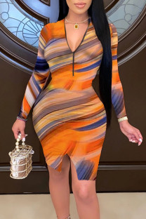 Multicolor Elegant Print Split Joint Zipper Collar Pencil Skirt Dresses