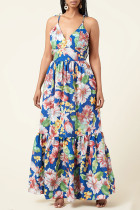 Multicolor Fashion Sexy Print Bandage Backless Spaghetti Strap Long Dress