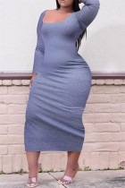 Dark Gray Sexy Casual Plus Size Solid Basic O Neck Long Sleeve Dresses