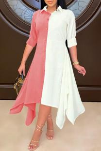 Pink Fashion Casual Patchwork Asymmetrical Turndown Collar Shirt Dress