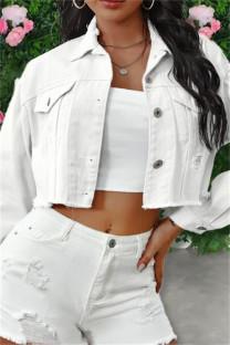 White Fashion Patchwork Solid Tassel Backless Turndown Collar Long Sleeve Regular Denim Jacket