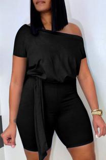 Black Fashion Casual Solid Basic Oblique Collar Regular Romper
