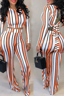 Stripe Simplicity Striped Print Bandage Split Joint Backless O Neck Long Sleeve Two Pieces
