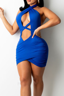 Royal Blue Sexy Solid Hollowed Out Split Joint Frenulum Backless Asymmetrical Halter Pencil Skirt Dresses