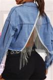 Light Blue Fashion Patchwork Solid Tassel Backless Turndown Collar Long Sleeve Regular Denim Jacket