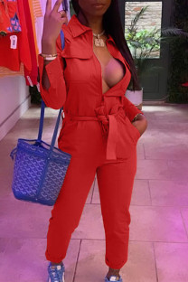 Red Casual Solid Split Joint With Belt Zipper Turndown Collar Straight Jumpsuits