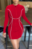 Red Casual Print Split Joint Zipper Collar Pencil Skirt Dresses