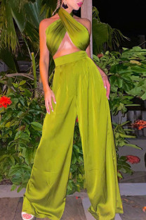Green Sexy Solid Bandage Split Joint Halter Sleeveless Two Pieces