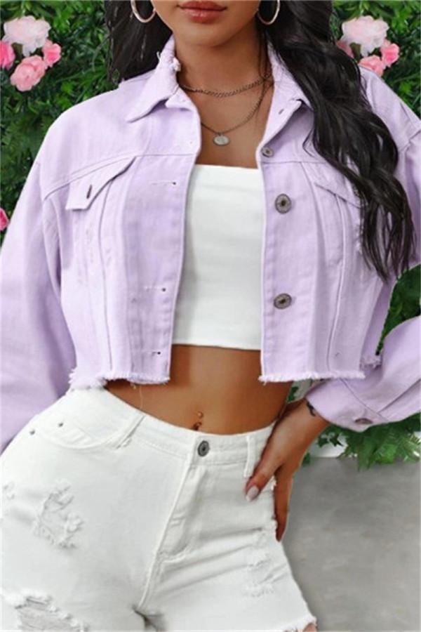 Pink Purple Fashion Patchwork Solid Tassel Backless Turndown Collar Long Sleeve Regular Denim Jacket