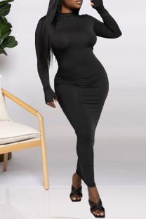 Black Fashion Casual Solid Basic Half A Turtleneck Long Sleeve Dresses