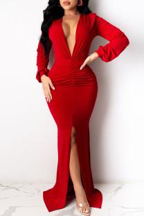Red Elegant Solid Split Joint Slit Fold V Neck Evening Dress Dresses