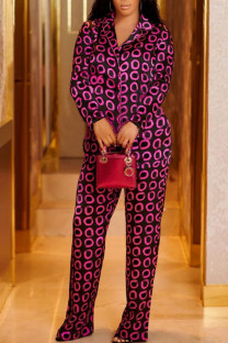Rose Red Casual Print Split Joint Buckle Turn-back Collar Long Sleeve Two Pieces