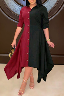 Burgundy Fashion Casual Patchwork Asymmetrical Turndown Collar Shirt Dress