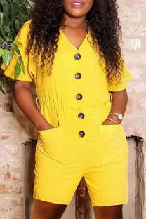 Yellow Casual Solid Split Joint V Neck Straight Jumpsuits