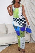 Green Fashion Casual Print Basic U Neck Long Dress