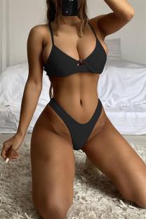 Black Fashion Sexy Solid Backless Strap Design Swimwears