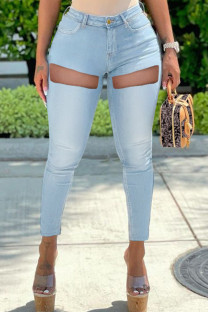 Light Blue Fashion Casual Solid Ripped High Waist Skinny Jeans