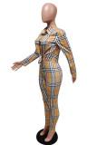 Khaki Fashion Casual Plaid Print Basic Turndown Collar Long Sleeve Two Pieces