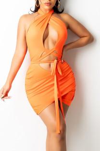 Fluorescent Orange Sexy Solid Hollowed Out Split Joint Frenulum Backless Asymmetrical Halter Pencil Skirt Dresses