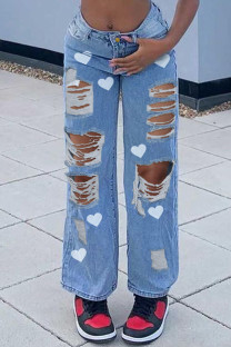 Blue Fashion Casual Print Ripped Plus Size Jeans