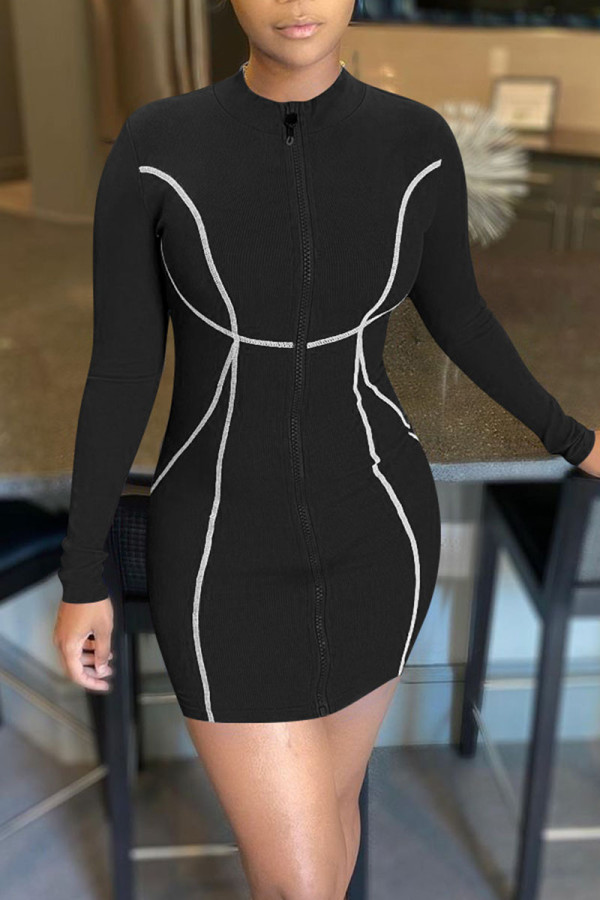 Black Casual Print Split Joint Zipper Collar Pencil Skirt Dresses