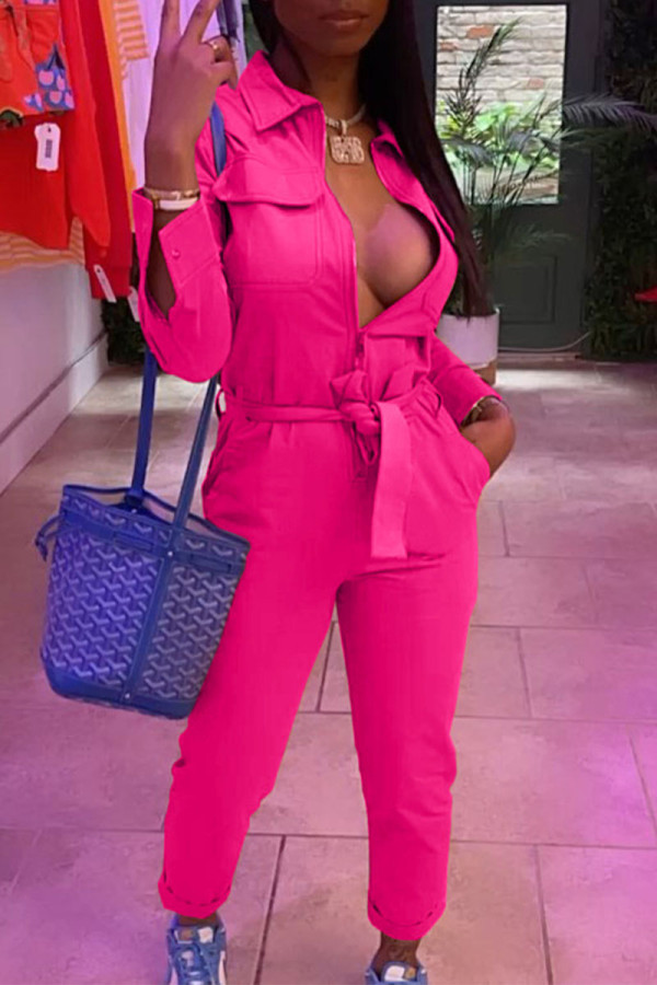 Rose Red Casual Solid Split Joint With Belt Zipper Turndown Collar Straight Jumpsuits