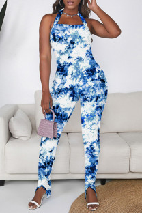 Blue Sexy Casual Print Tie Dye Backless Halter Skinny Jumpsuits