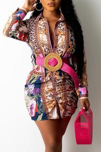 Pink Gold Casual Print Split Joint Turndown Collar Shirt Dress Dresses (Not Contain The Belt)