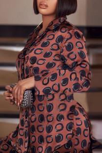 Dark Brown Casual Print Split Joint Buckle Turn-back Collar Long Sleeve Two Pieces
