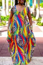 Colour Casual Print Split Joint V Neck Short Sleeve Dress Plus Size Dresses