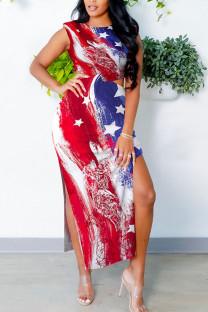 Red Blue Sexy Print Hollowed Out Split Joint Slit O Neck Vest Dress Dresses